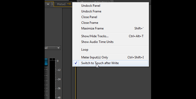 Using Premiere Pro's Audio Automation Modes - Switch to Touch Option