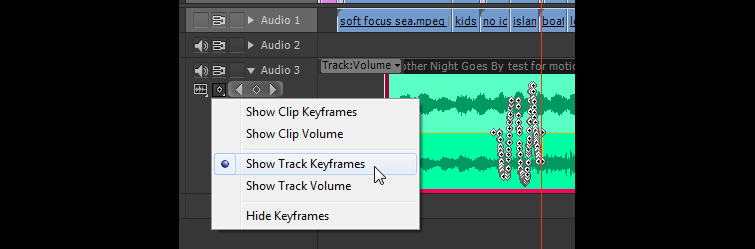 Showing Track Keyframes