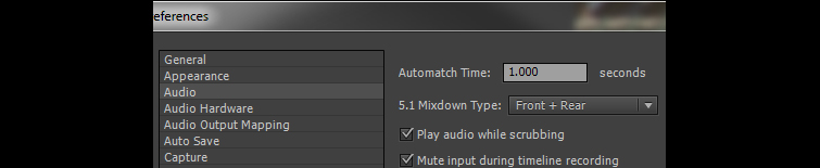 Using Premiere Pro's Audio Automation Modes - Automatch Settings