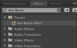 Premiere Pro Ken Burns effect preset