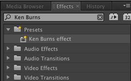 Premiere Pro Ken Burns effect preset