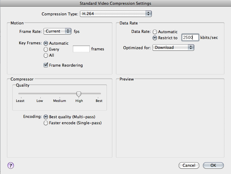 How to create apple compressor presets