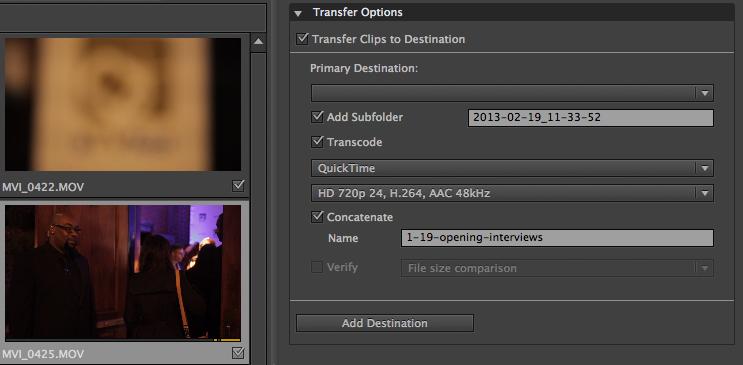 Concatenate Adobe Prelude