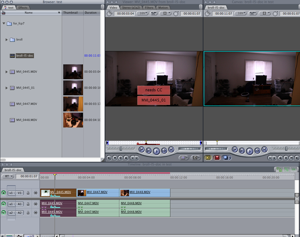 XML imported into FCP 7