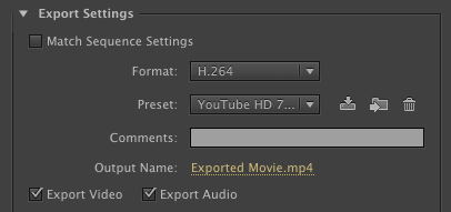 Premiere Pro export settings