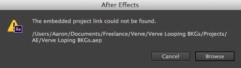 After Effects Warning