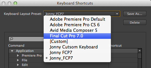 changing shortcuts in premiere pro cc