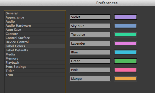 how to change premire pro cc label colours