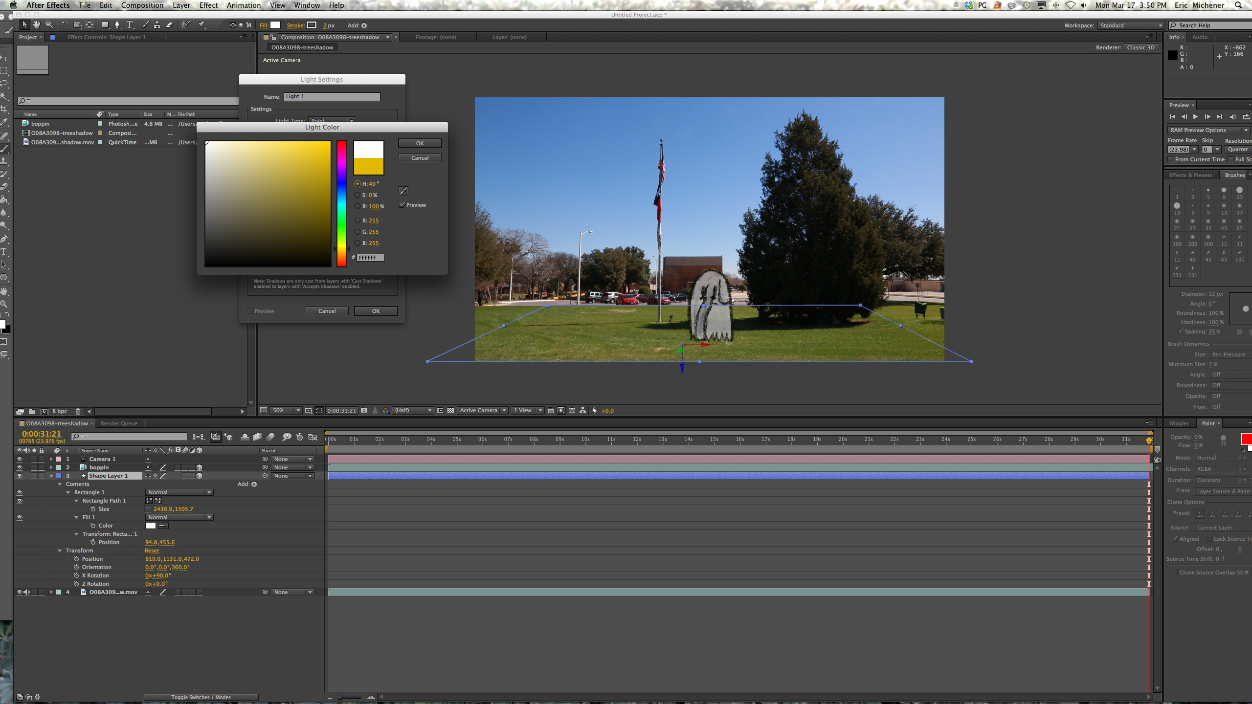 After Effects Light Settings