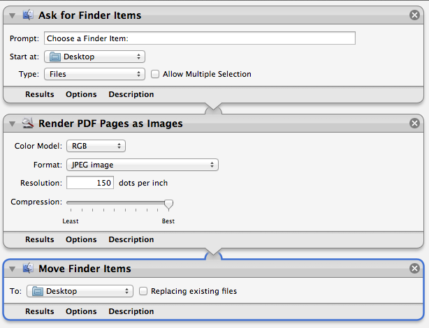 Automator workflow all pdf pages to jpeg