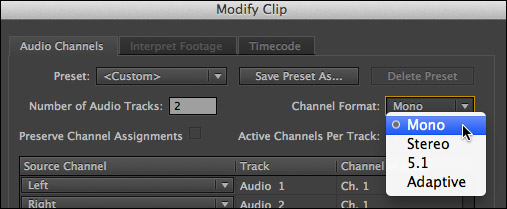 how to modify audio clip channels