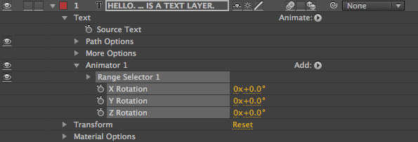 Animator 1 Rotation Properties
