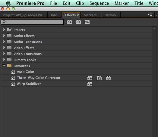 make an effects favourite bin in Premiere Pro