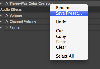 saving a preset effect in premiere pro cc