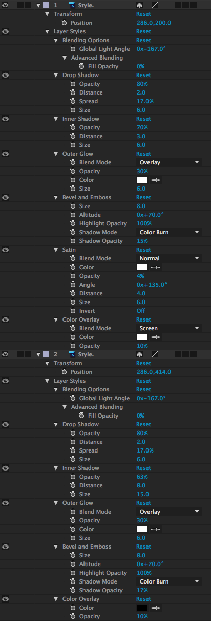 Layer Styles in AE Settings