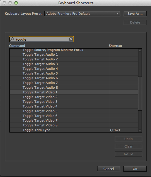 Toggle Audio and Video Tracks in Premiere Pro CC