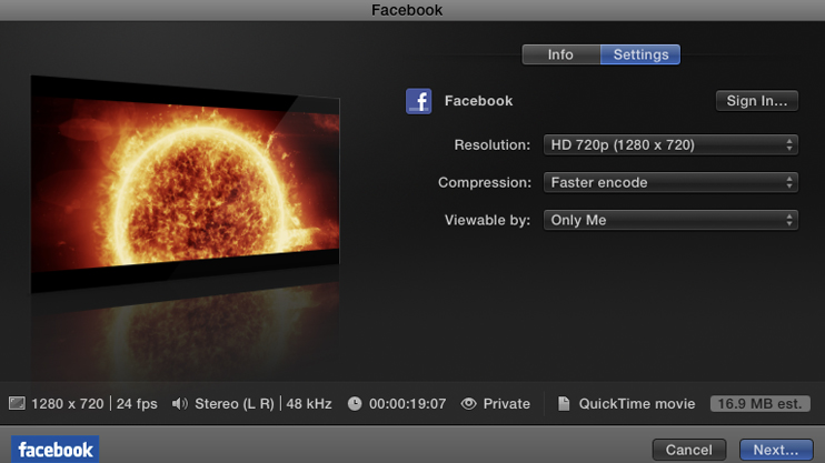 Final Cut Pro X Facebook Export: 3