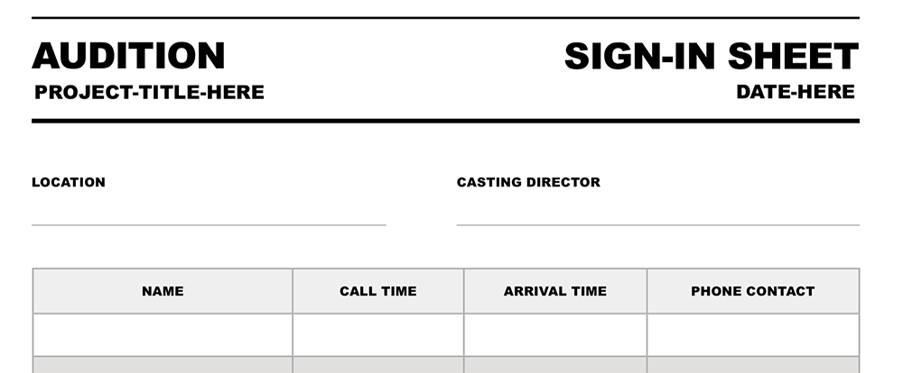 Audition Sign-In Sheet Still