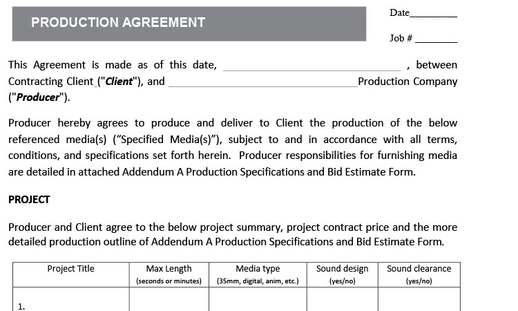 Production Agreement