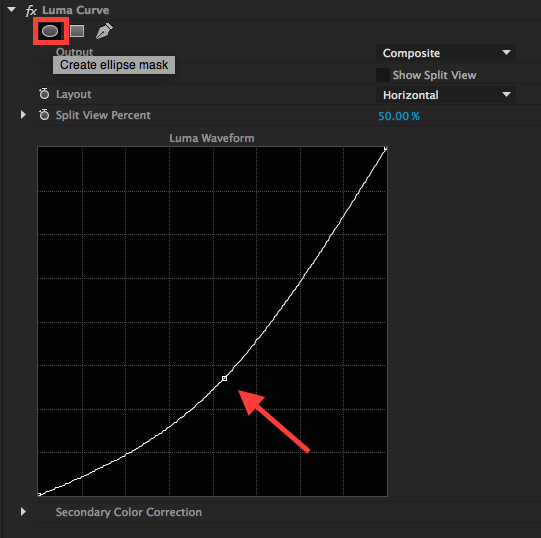 Adding contrast and a mask in the Luma Curve Effect