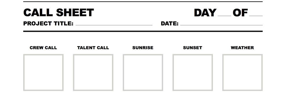 Call Sheet Screenshot