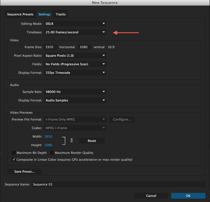 frame rate of sequence in premiere pro
