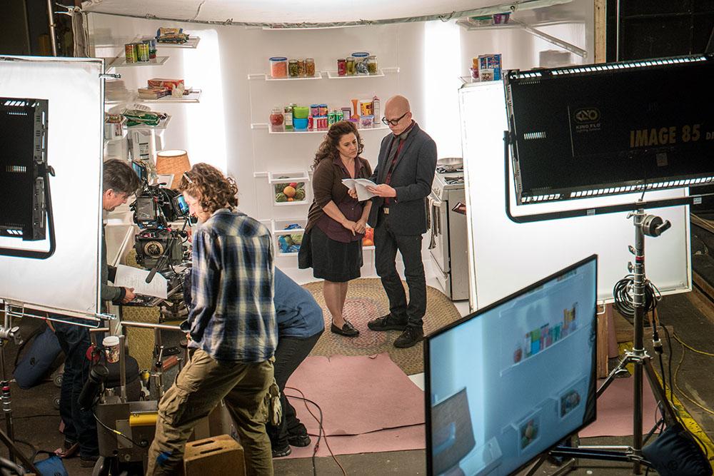 Actress Marissa Jaret Winokur and director Andrew Putschoegl on the set of Yvonne