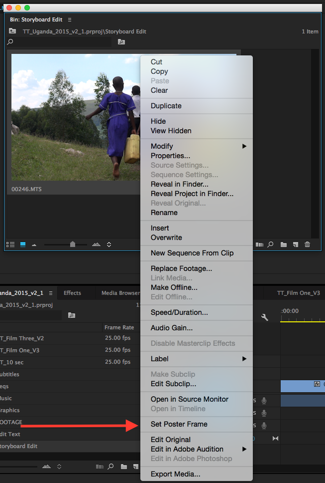 set the poster frame in Premiere Pro