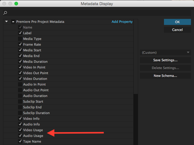 select metadata in premiere