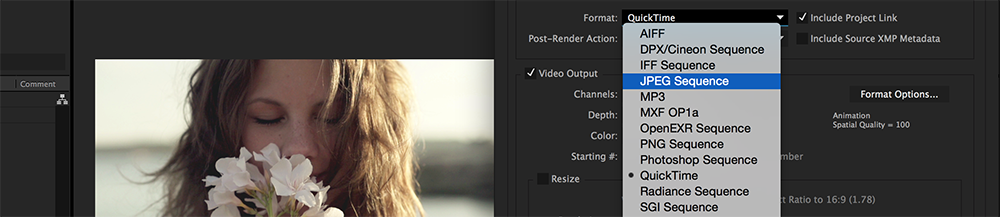 Saving a Still in After Effects Settings