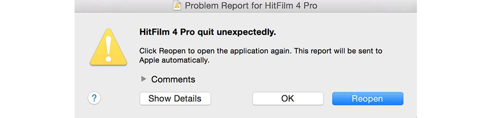Hitfilm Error Code