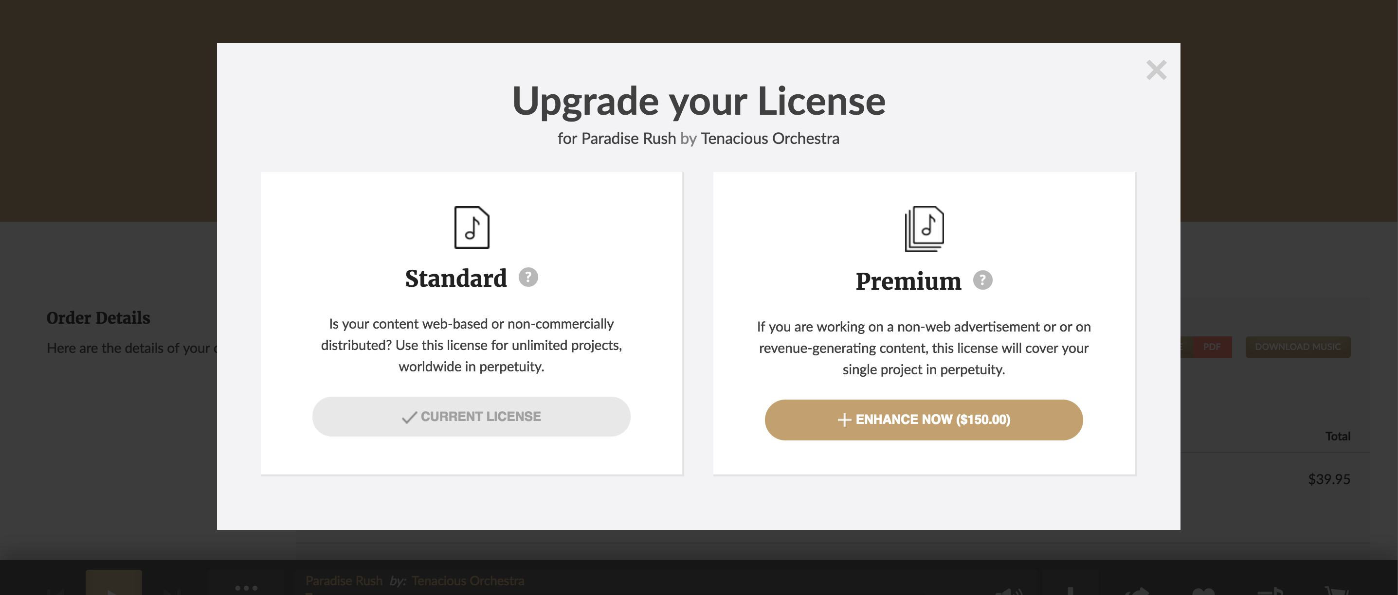 PremiumBeat Instant Royalty Free Music License Upgrade