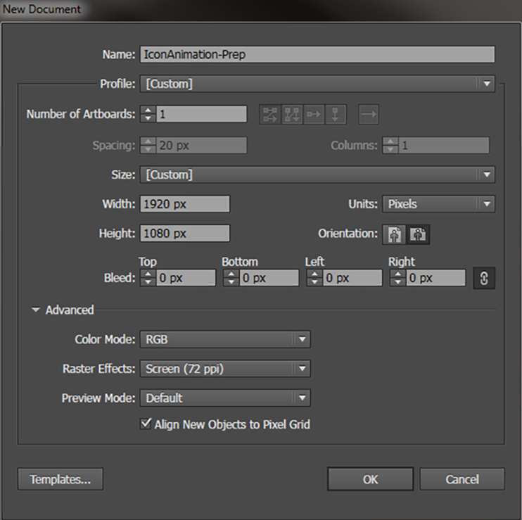 Basic document setup: Use the dimensions of your After Effects composition here.