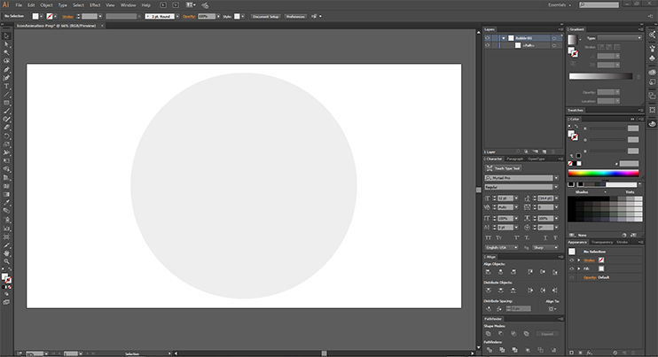 I've created a circle for all of my icons to go on - and named the layer!