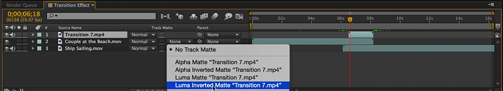 16 Free Circle Transitions for Video Editors: Step Three, Set the Luma Matte