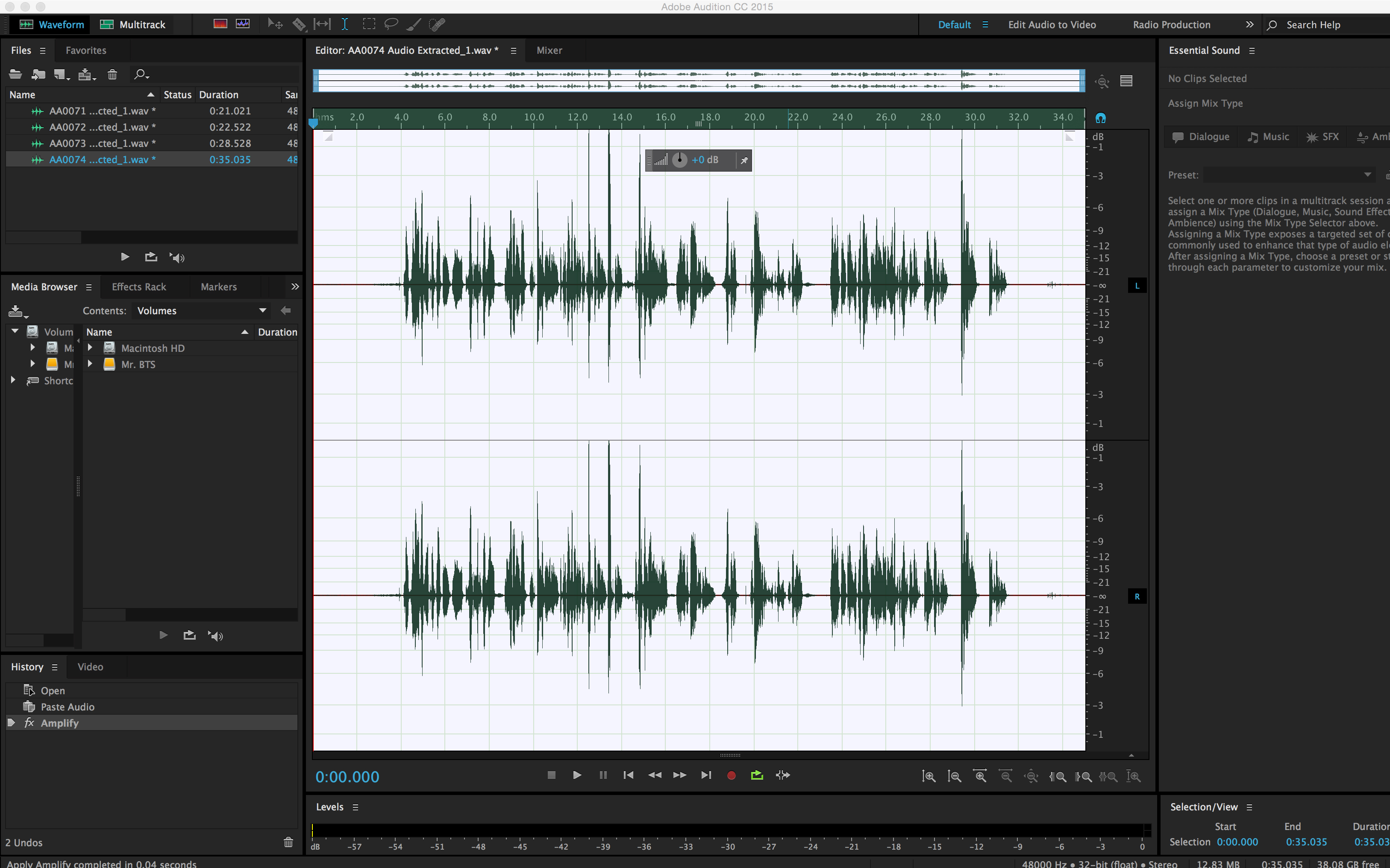 How to Simultaneously Edit Multiple Internal Camera Audio Files: Edit Audio in Adobe Audition
