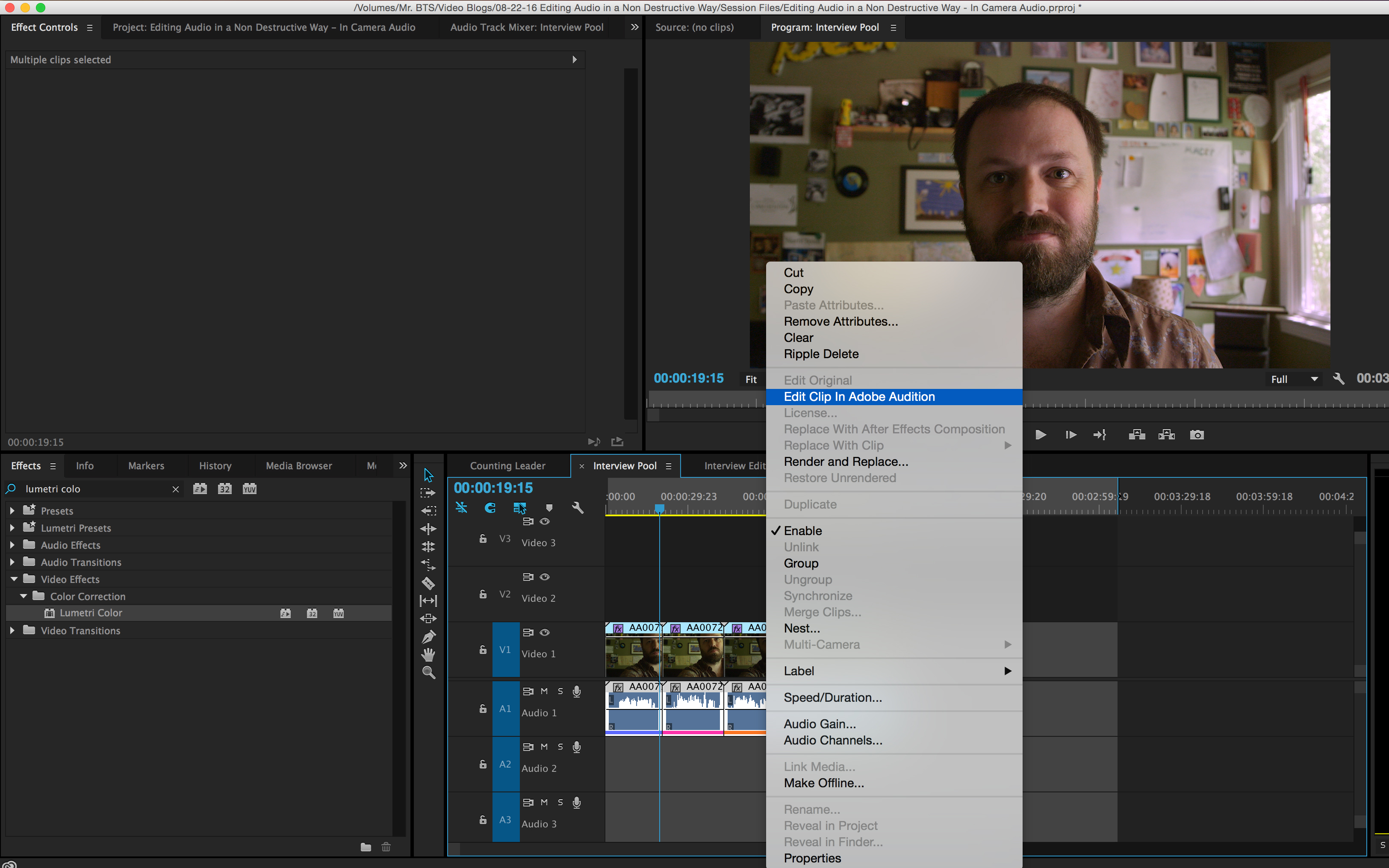 How to Simultaneously Edit Multiple Internal Camera Audio Files: Edit Clip in Adobe Audition