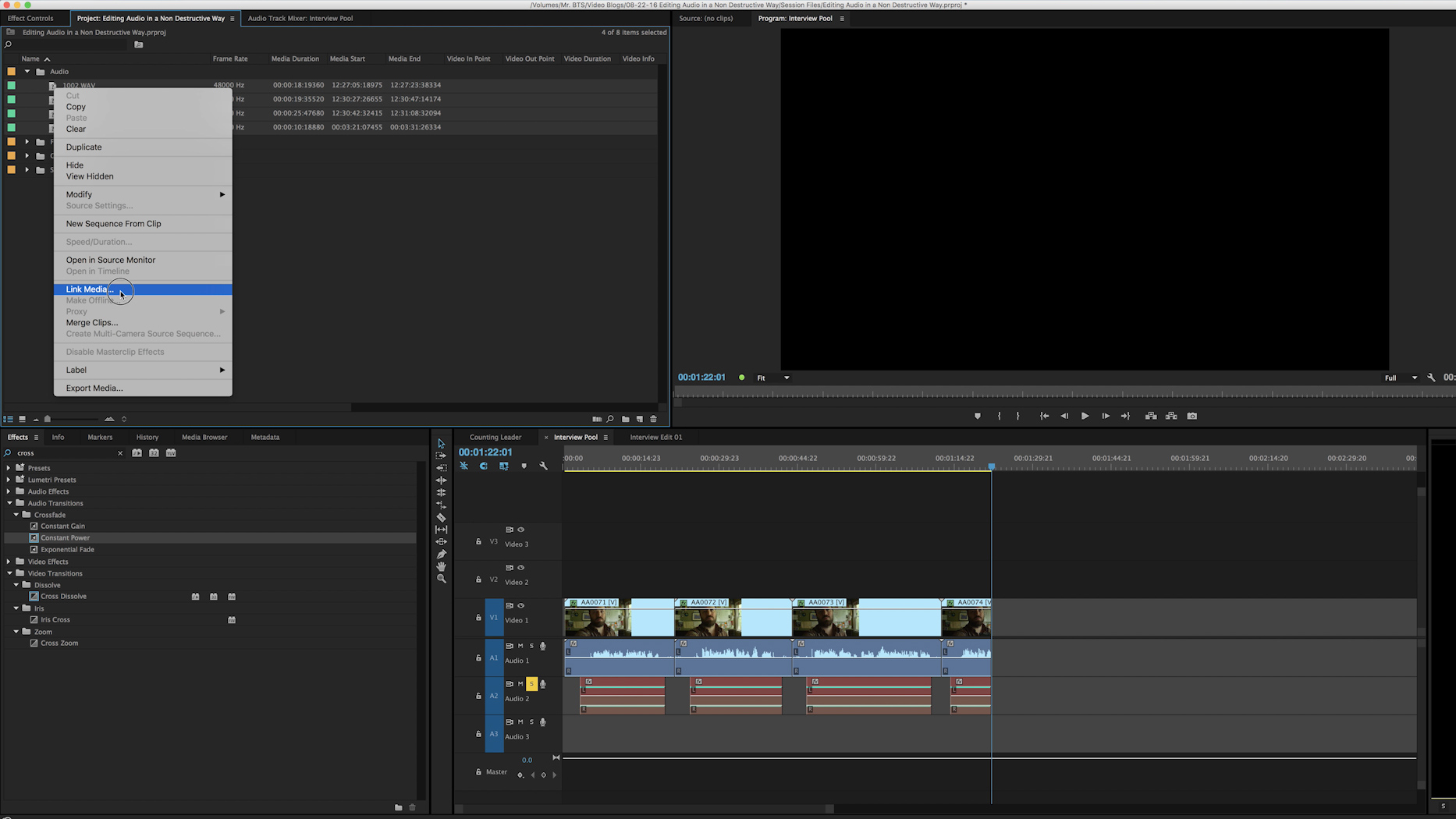 Re-Link Media Adobe Premiere CC