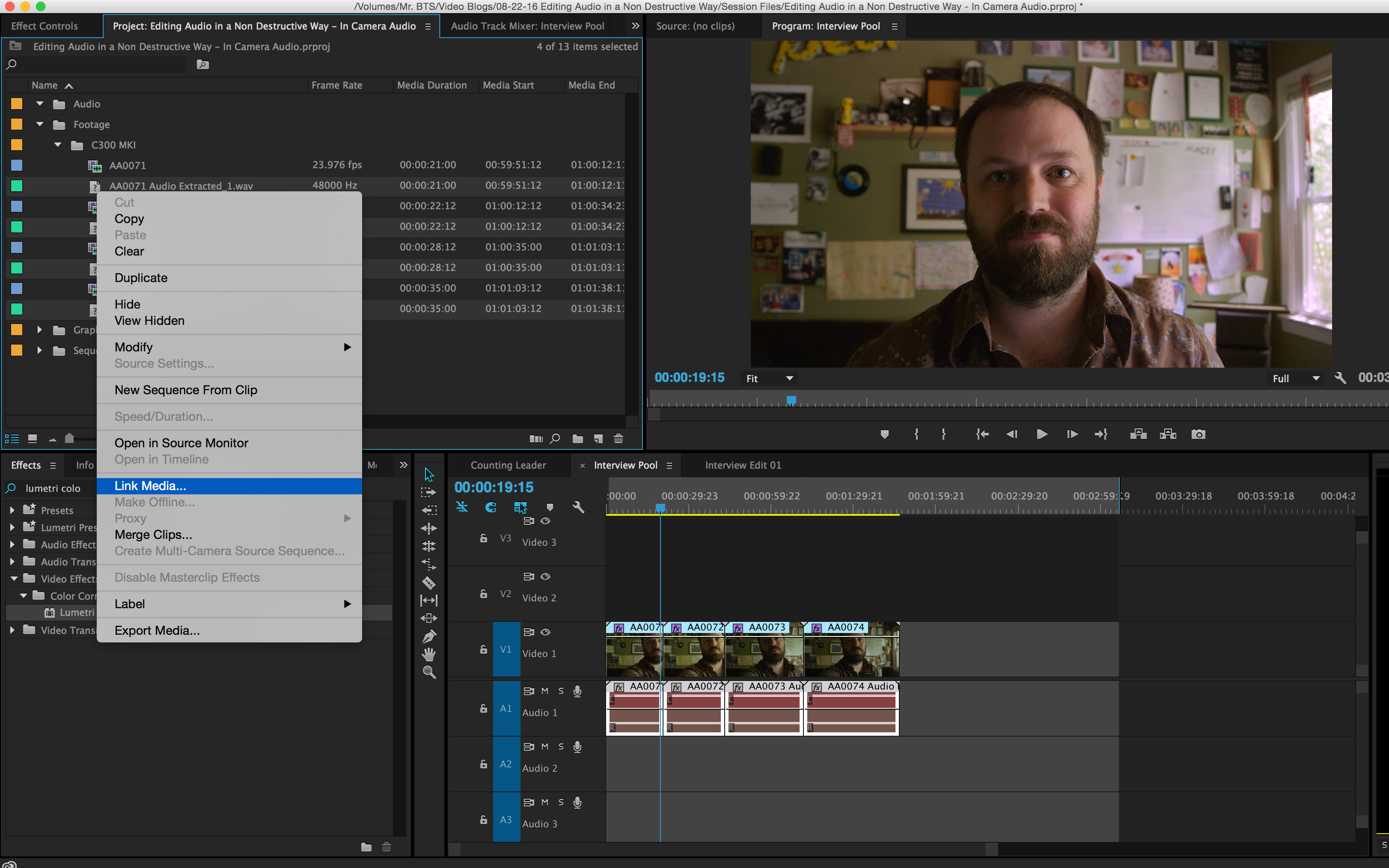 How to Simultaneously Edit Multiple Internal Camera Audio Files: Link Media Adobe Premiere CC