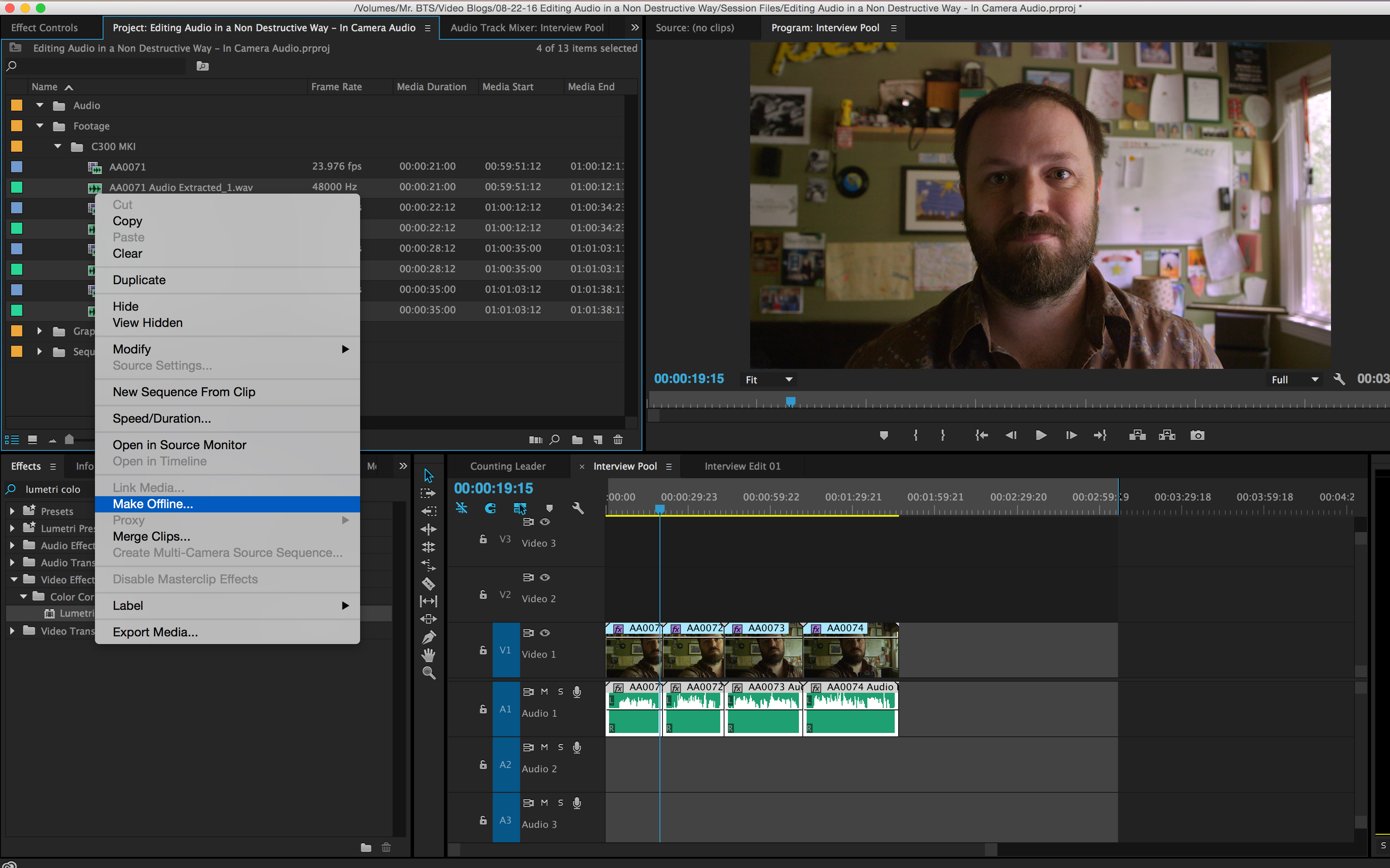 How to Simultaneously Edit Multiple Internal Camera Audio Files: Make Offline After Adobe Audition Editing