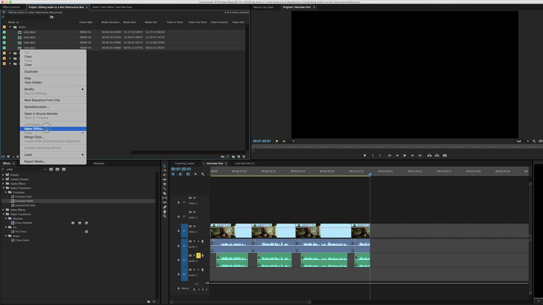 Make Files Offline Adobe Premiere CC