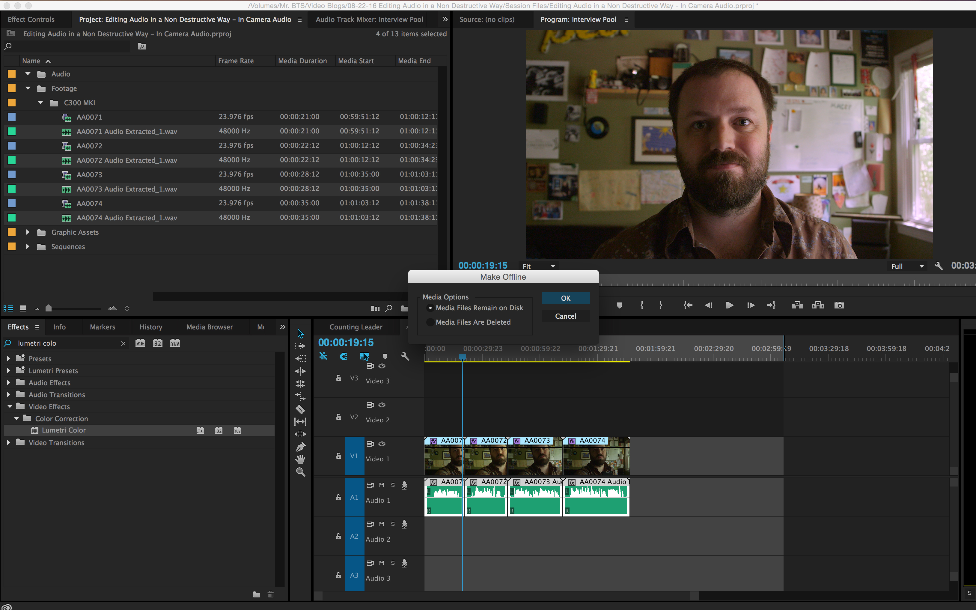 How to Simultaneously Edit Multiple Internal Camera Audio Files: Media Files Remain on Disk Adobe Premiere CC