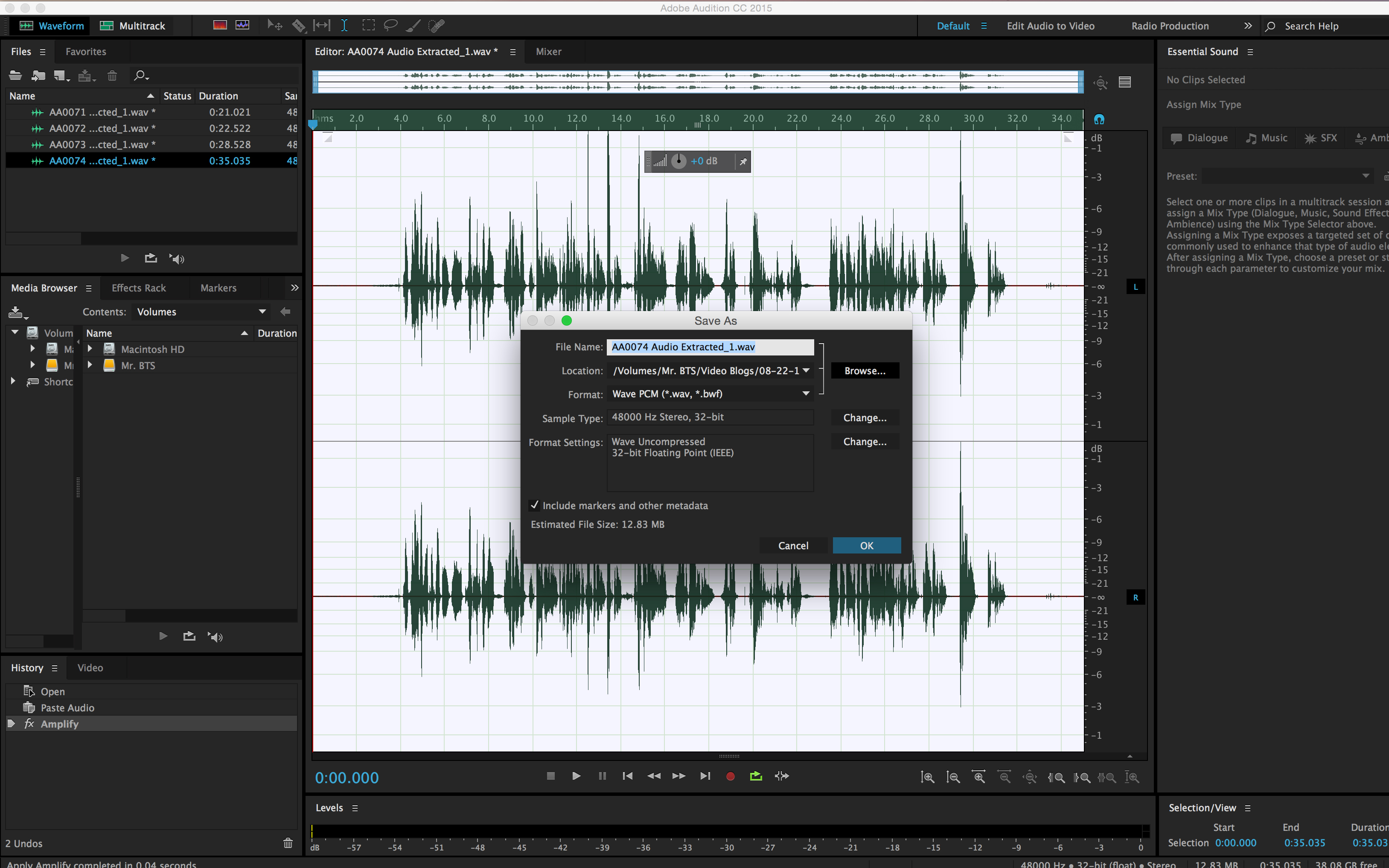 How to Simultaneously Edit Multiple Internal Camera Audio Files: Save As Audio Non Destructive
