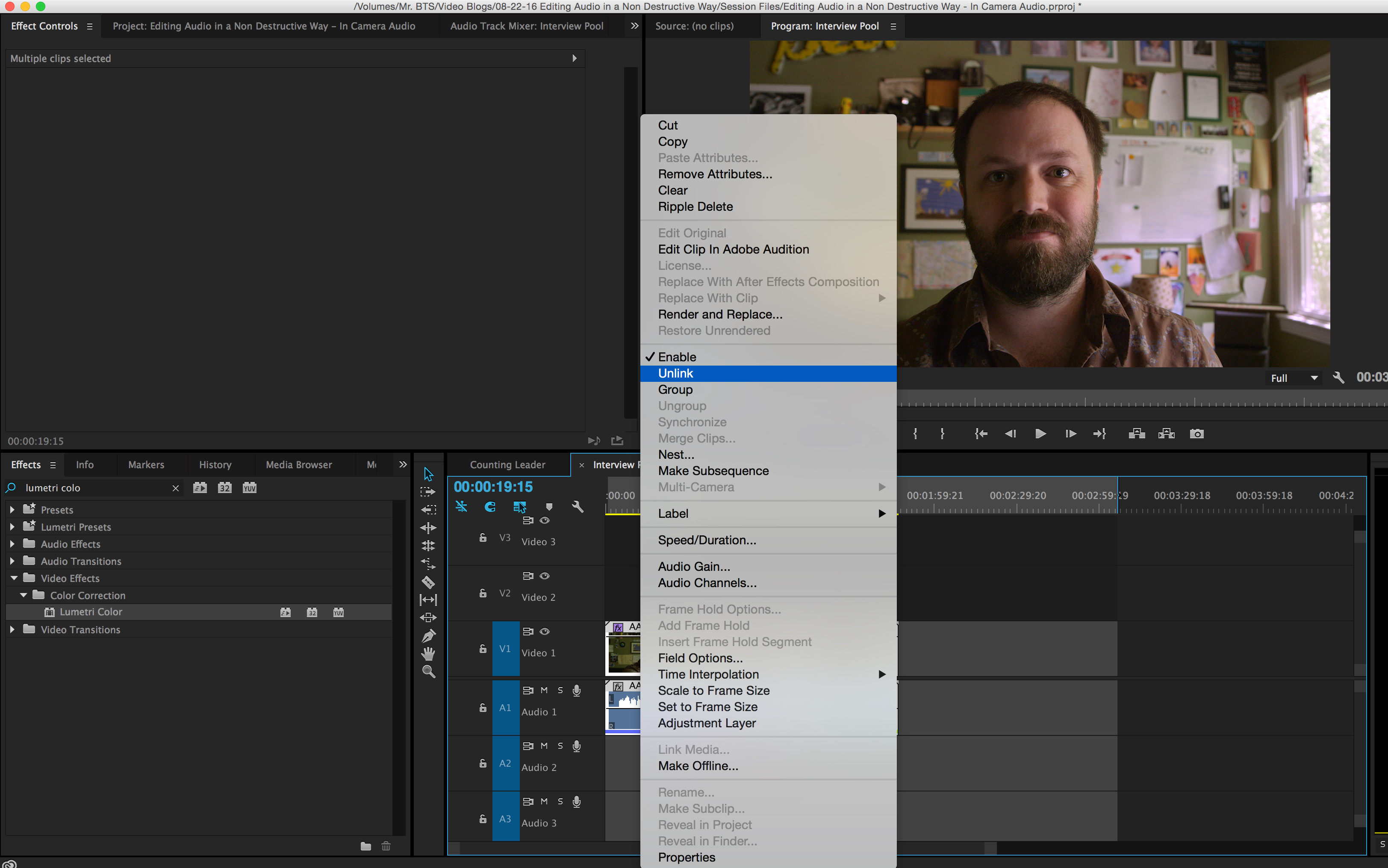 How to Simultaneously Edit Multiple Internal Camera Audio Files: Unlink Audio