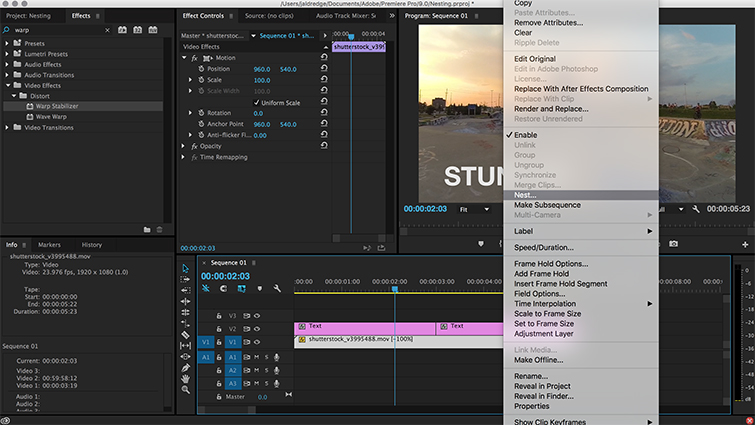 A Quick Guide to Nesting in Premiere Pro - Nest clips together