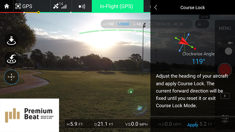 Traditional Camera Moves Made Easy with DJI Drones - Course Lock Apply