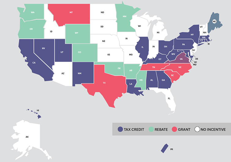 10 Best States for Film Production Tax Breaks - Film Tax Map