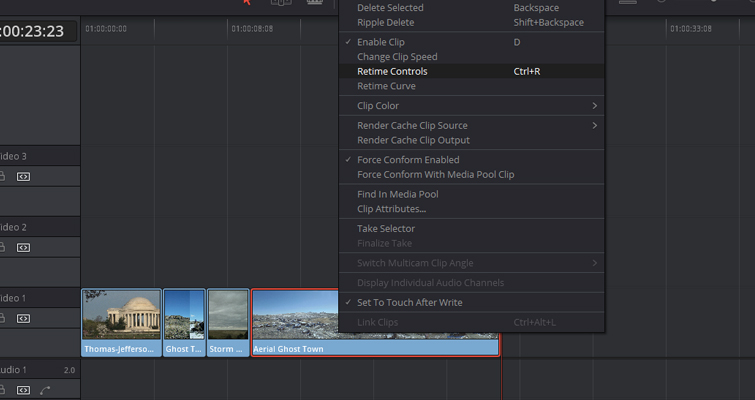 Speed Change Techniques In Resolve 12.5 — Retime Clip