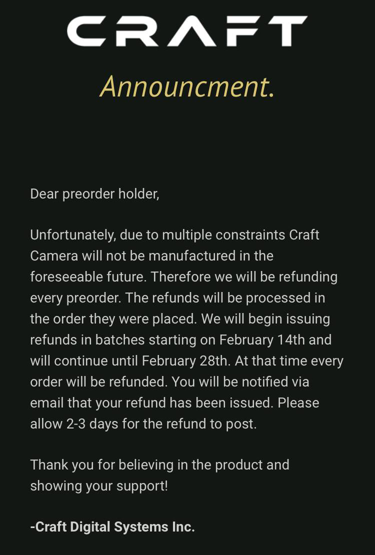 The Craft Camera is Officially No More: Official Announcement