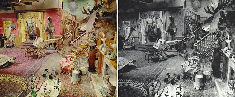 The magic behind colorizing old black and white footage for The addams family living room